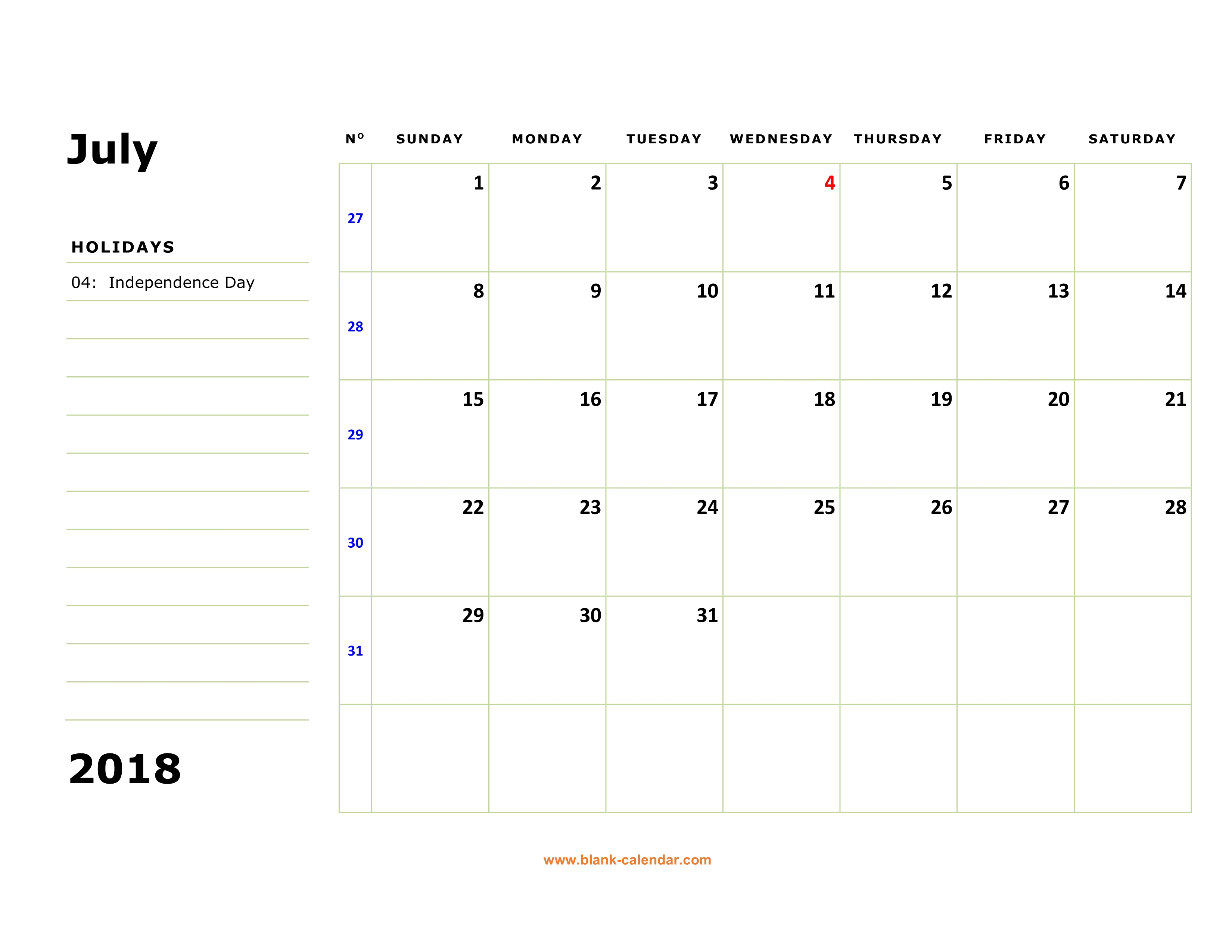 July Calendar 2018 Holidays Australia