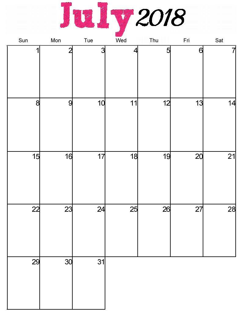 July Calendar 2018 Malaysia