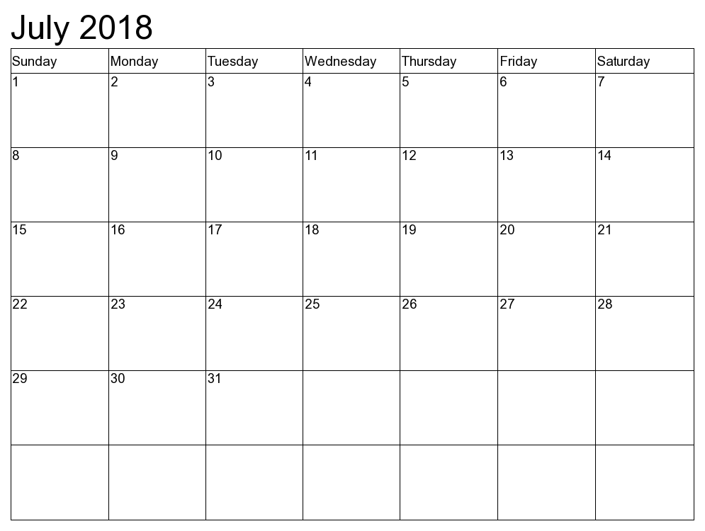 July Calendar 2018 Singapore