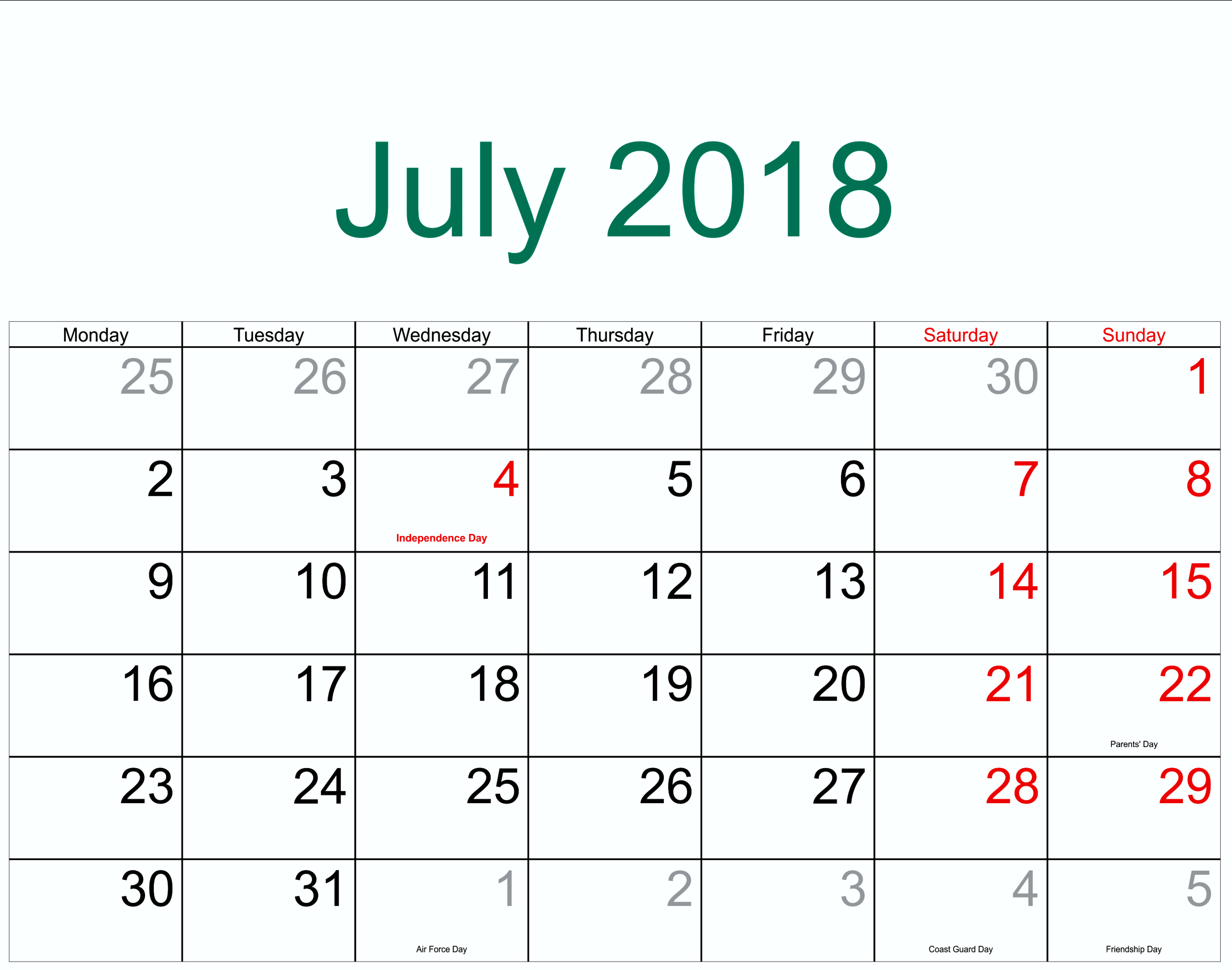 July Calendar 2018 Template Holidays