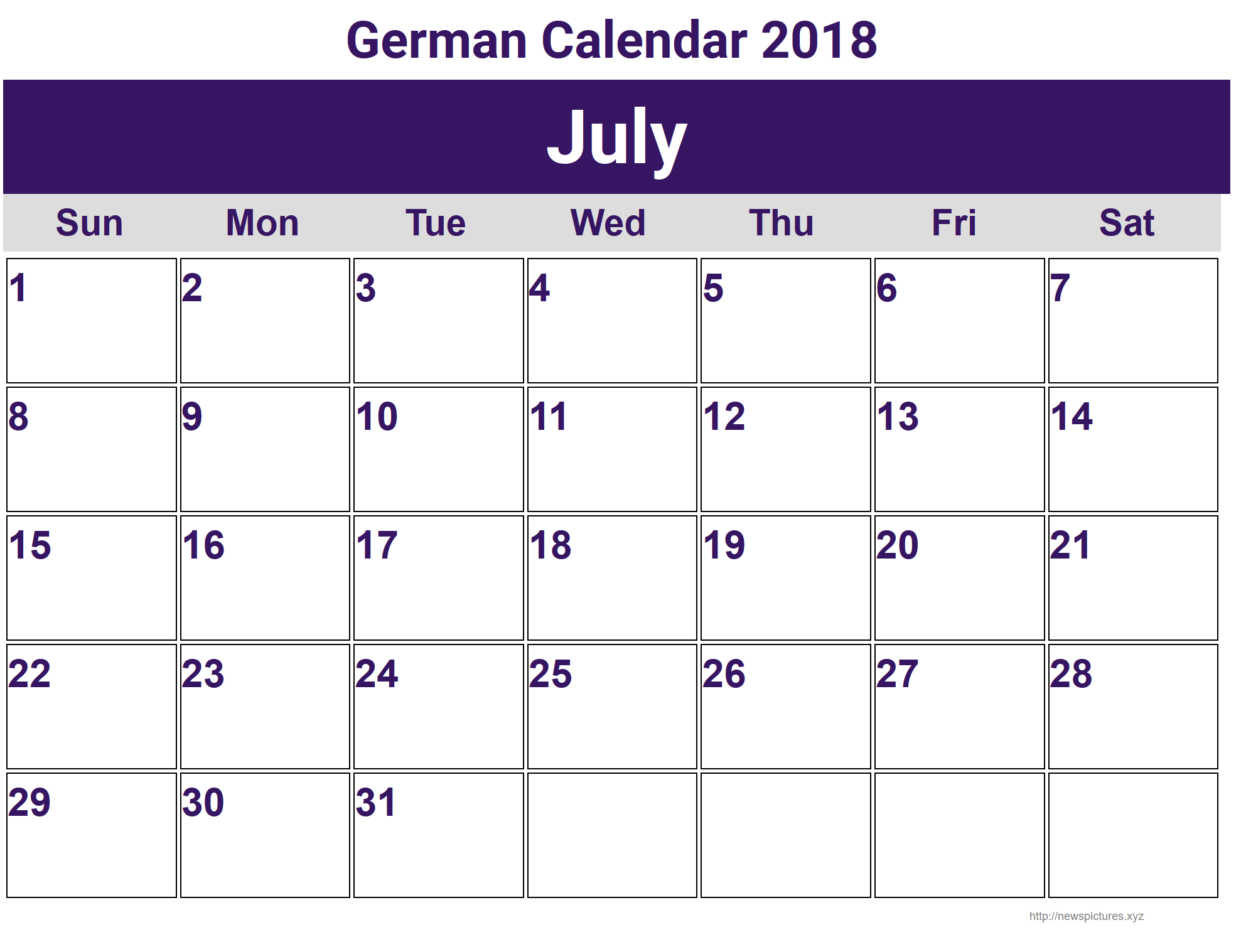 July German Calendar 2018