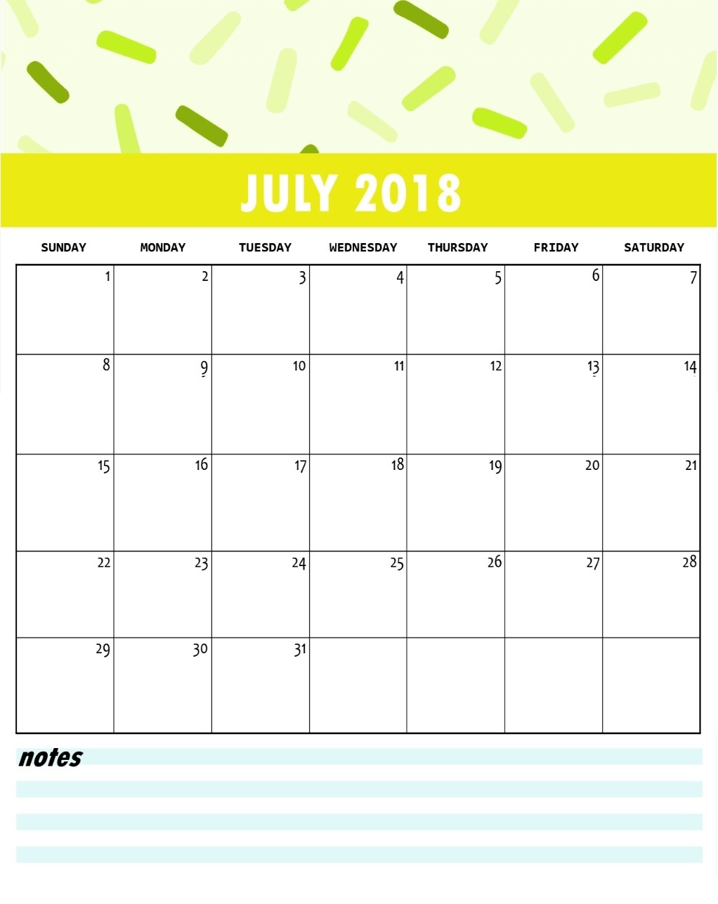 July Month 2018 Calendar Designs Download