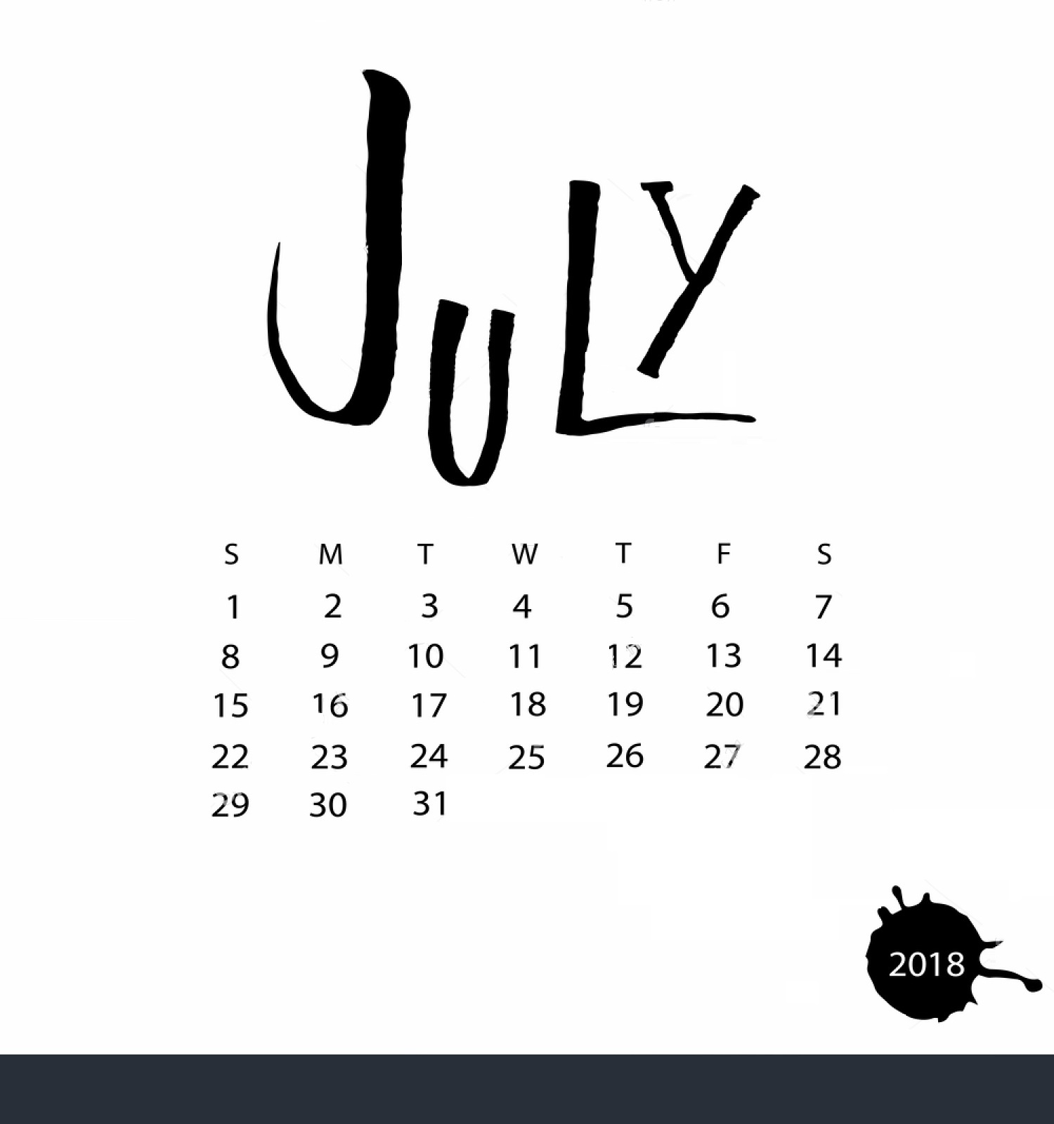 July Month 2018 Calendar Designs