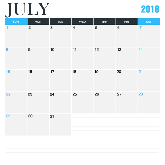 July Month 2018 Calendar Download