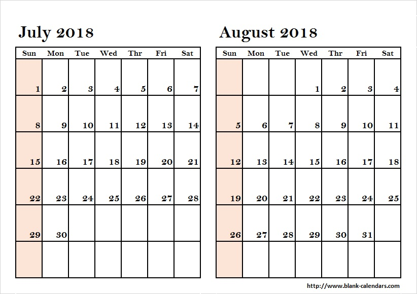July and August Calendar