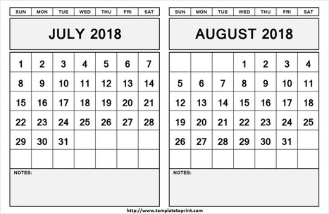 July and August 2018 Printable Calendar