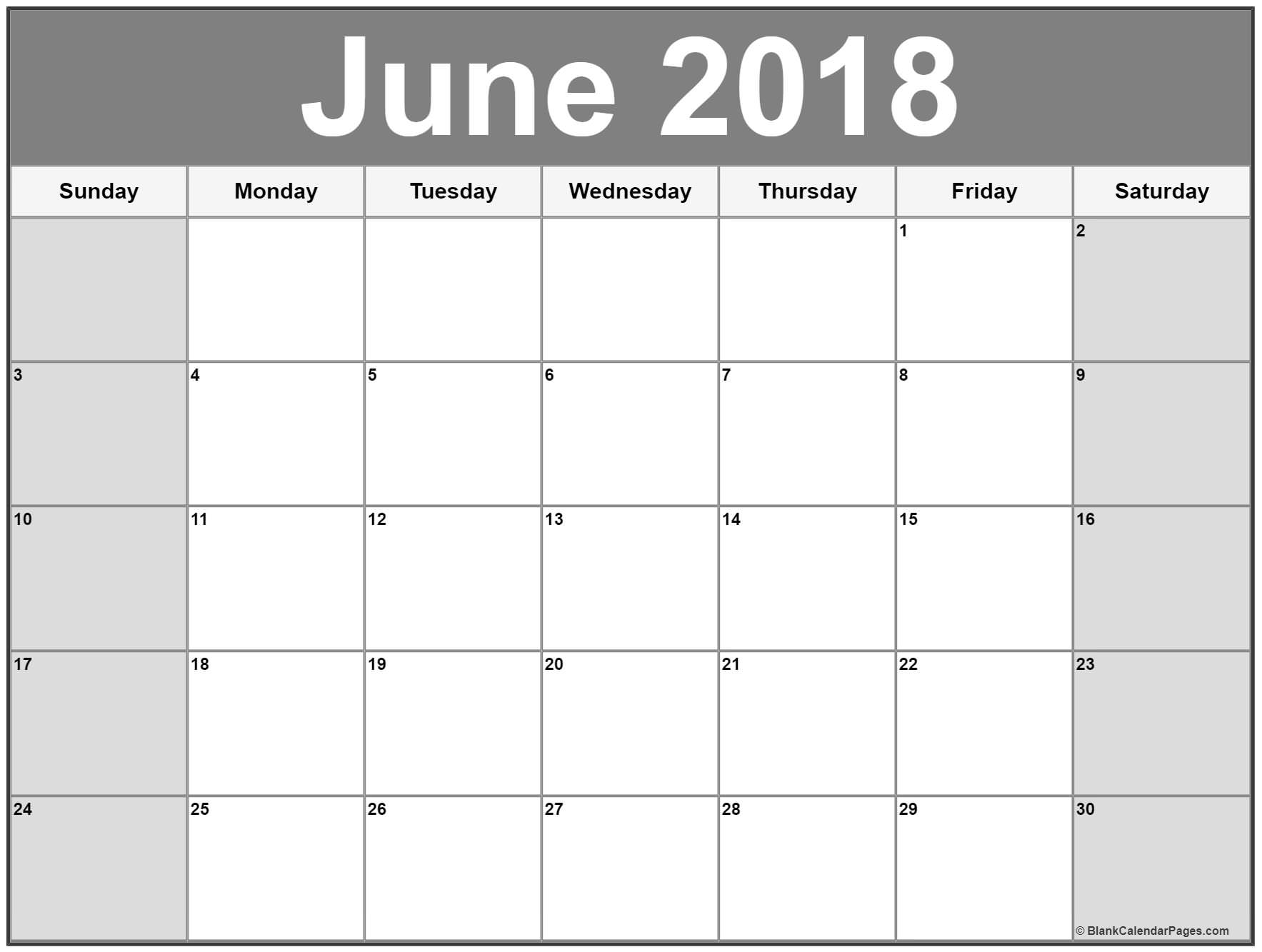 June 2018 Blank Calendar Download