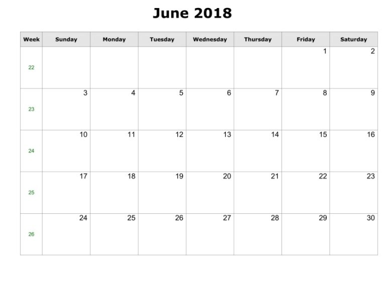 June 2018 Blank Calendar Free Download