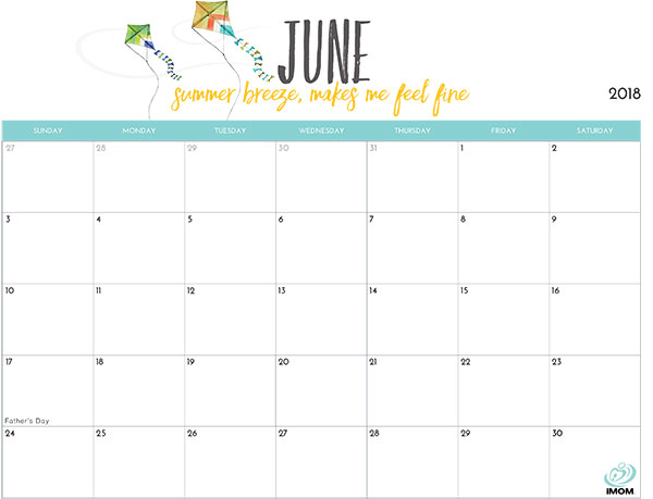 June 2018 Blank Calendar In Pdf, Word, Excel