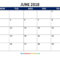 June 2018 Blank Calendar Template Download