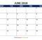 June 2018 Blank Calendar Template Download