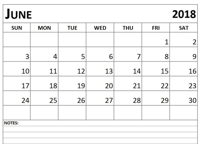 June 2018 Blank Calendar Template