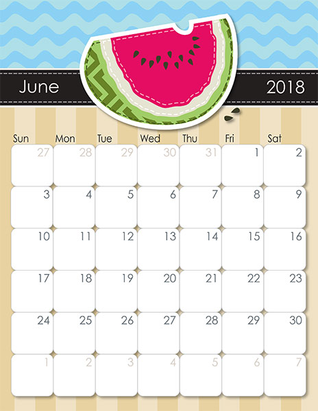 June 2018 Calendar Australia Printable Template