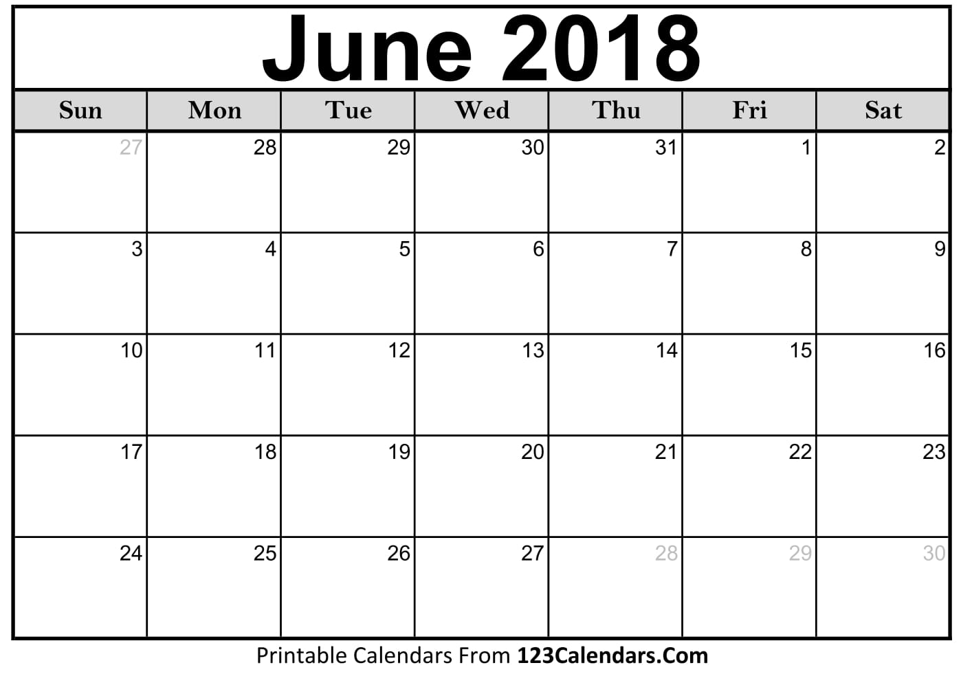 June 2018 Calendar Images Download