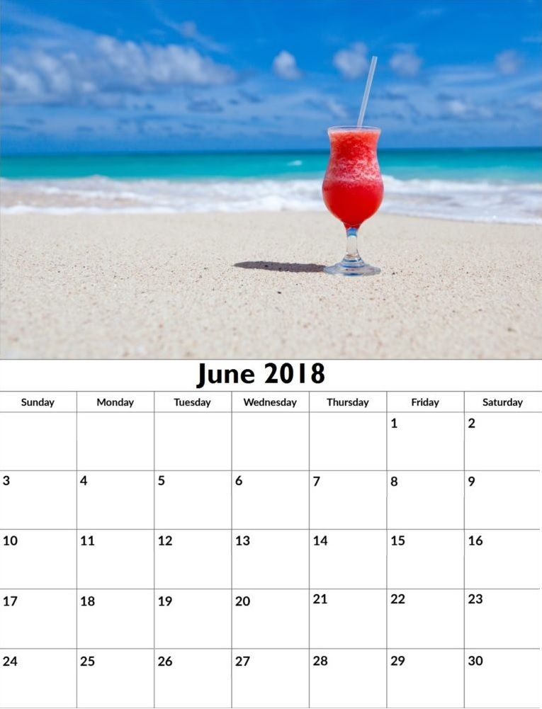 June 2018 Calendar Personalized
