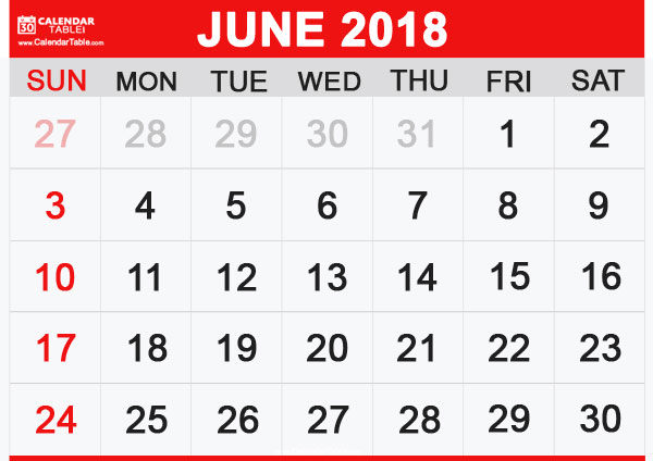 June 2018 Calendar Pictures