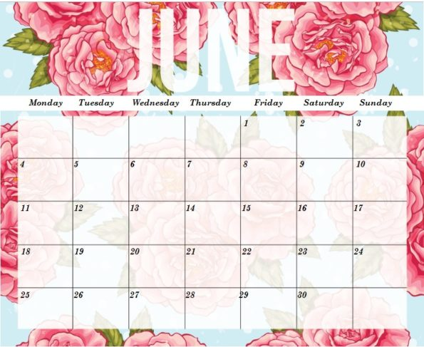 June 2018 Calendar Printable Floral Background
