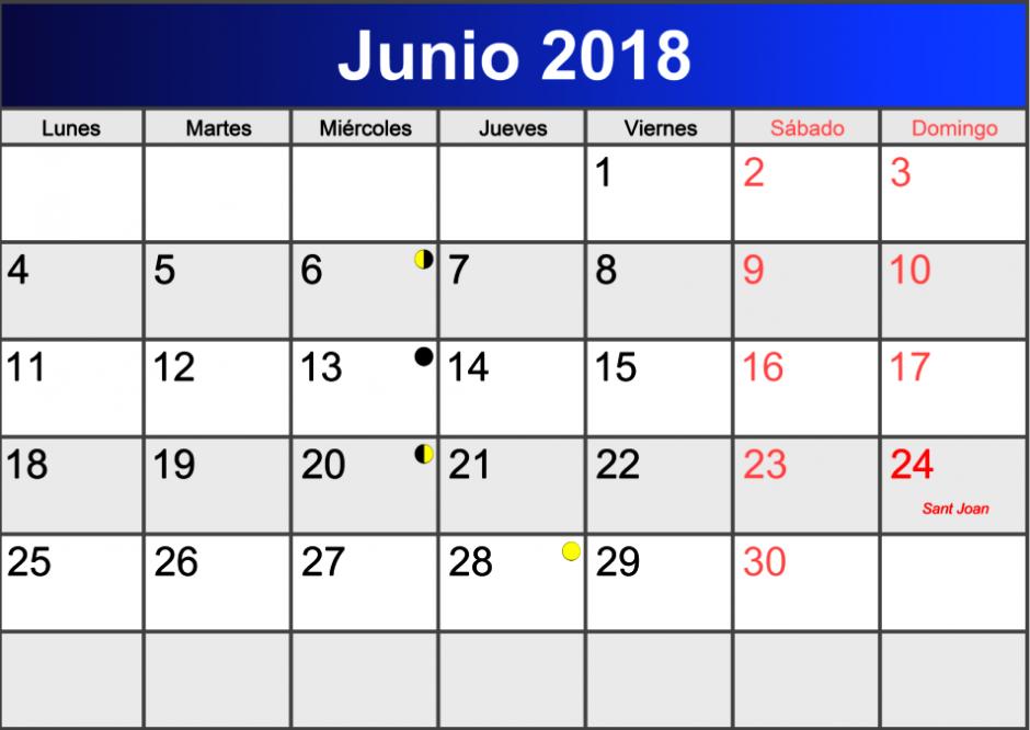 June 2018 Calendar Spanish