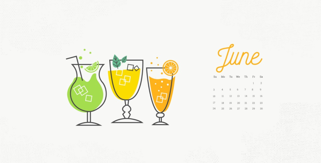 June 2018 Calendar with Drinks Wallpapers