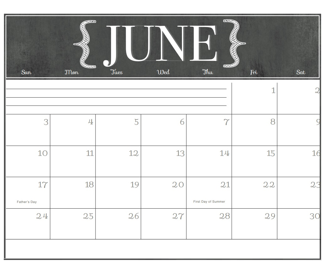 June 2018 Chalkboard Calendar