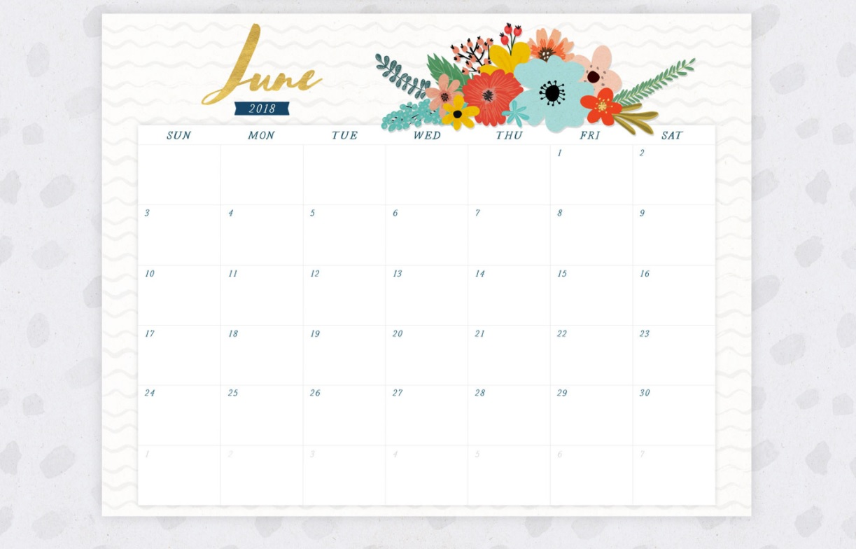 June 2018 Floral Wall Calendar