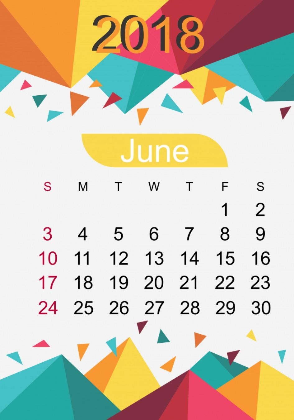June 2018 HD Calendar Design