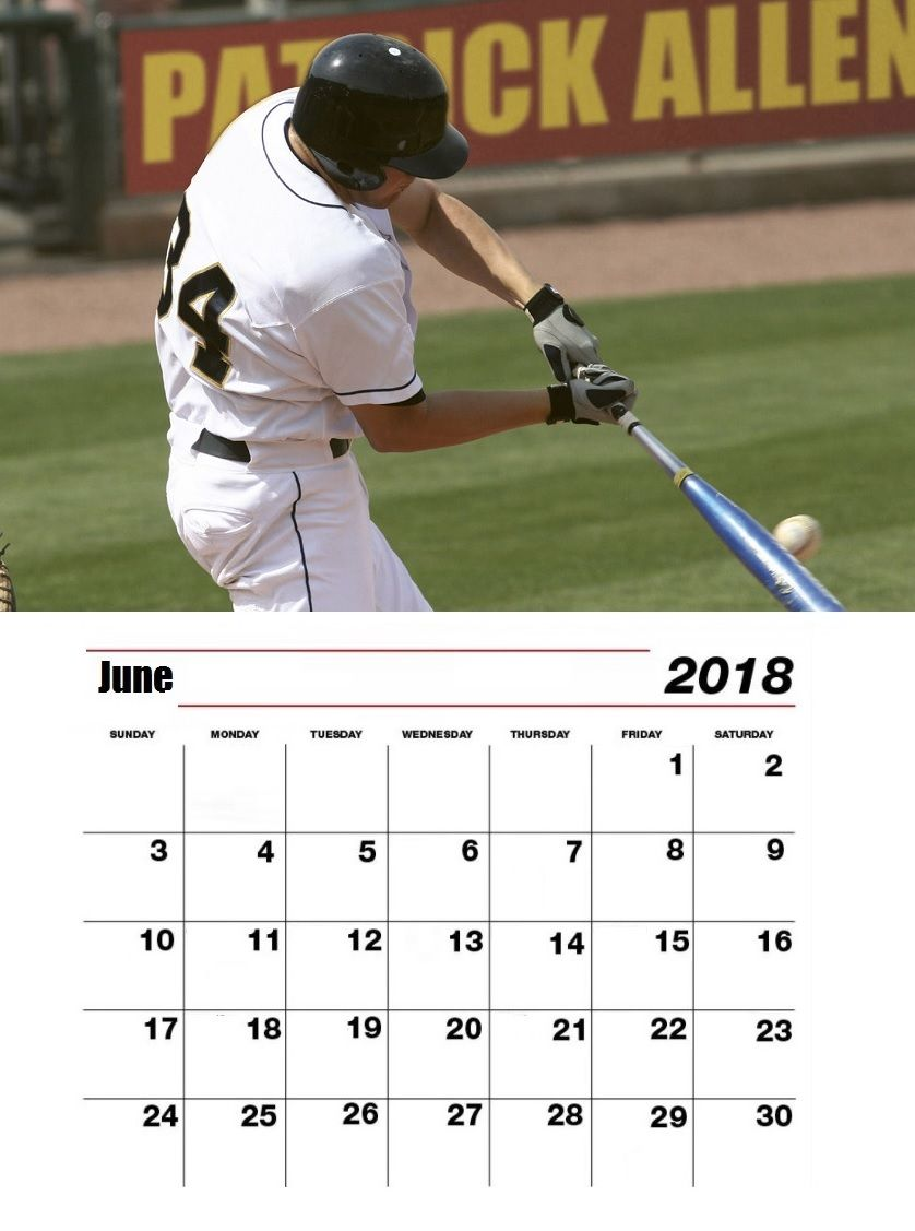 June 2018 Personalized Base Ball Calendar