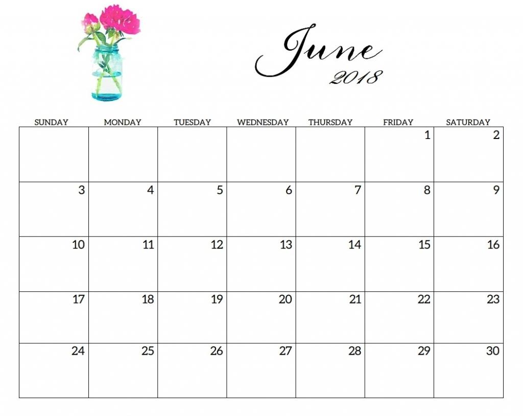 June 2018 Personalized Calendar Editable