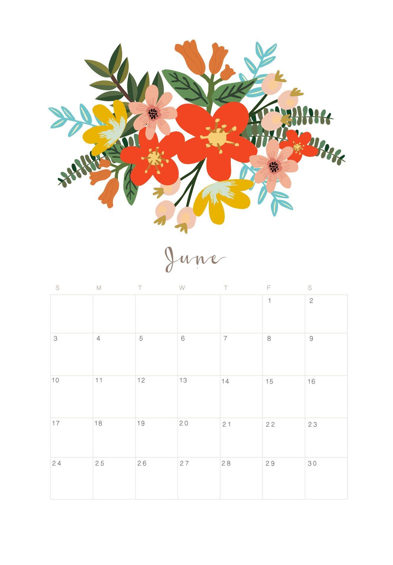 June 2018 Wall Calendar