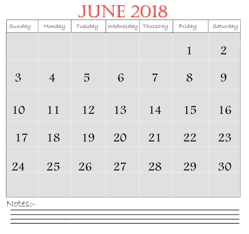 June 2018 Waterproof Calendar Planner
