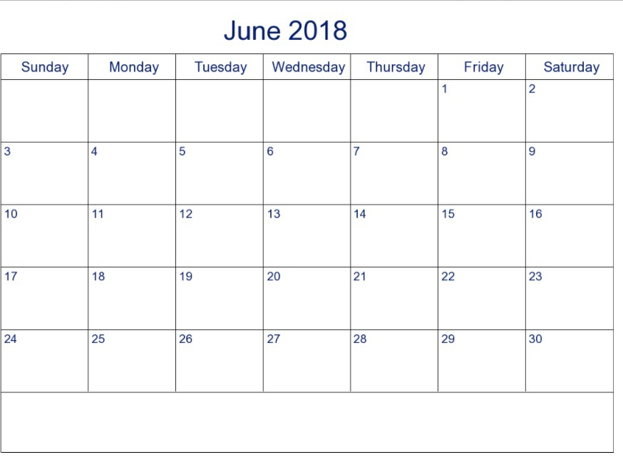 June 2018 Waterproof Calendar Template