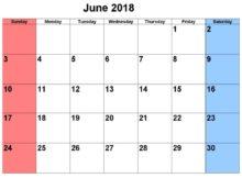 June 2018 Waterproof Editable Calendar