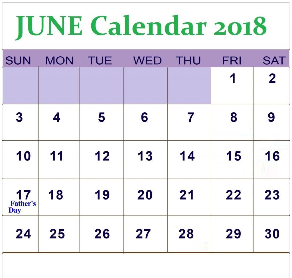 June 2018 Waterproof Monthly Calendar