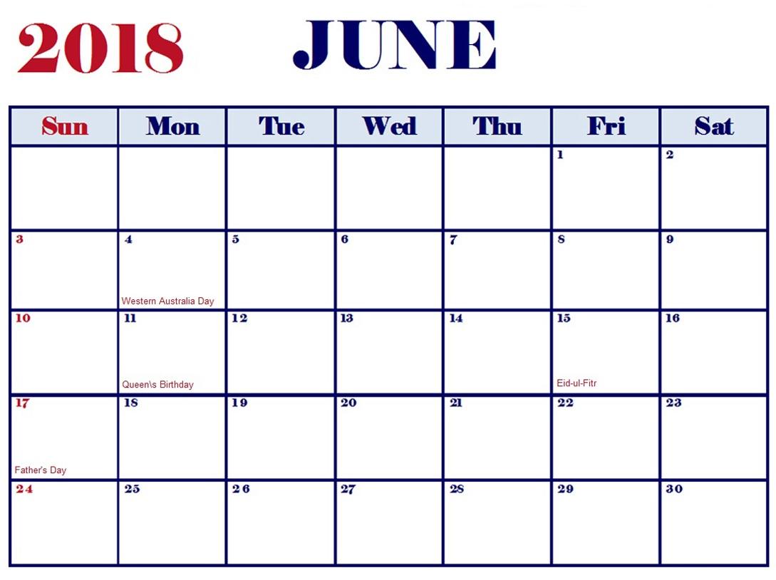 June Blank Calendar 2018 Printable
