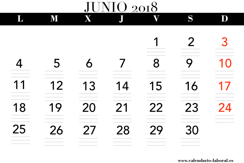 June Calendar 2018 In Spanish