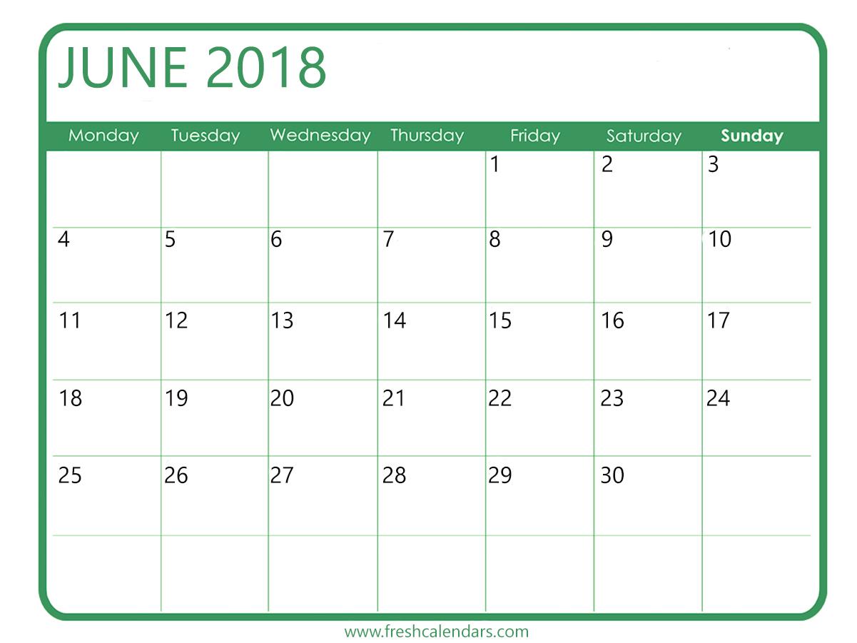 June Calendar 2018 Psd