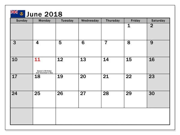 June Calendar Dates 2018