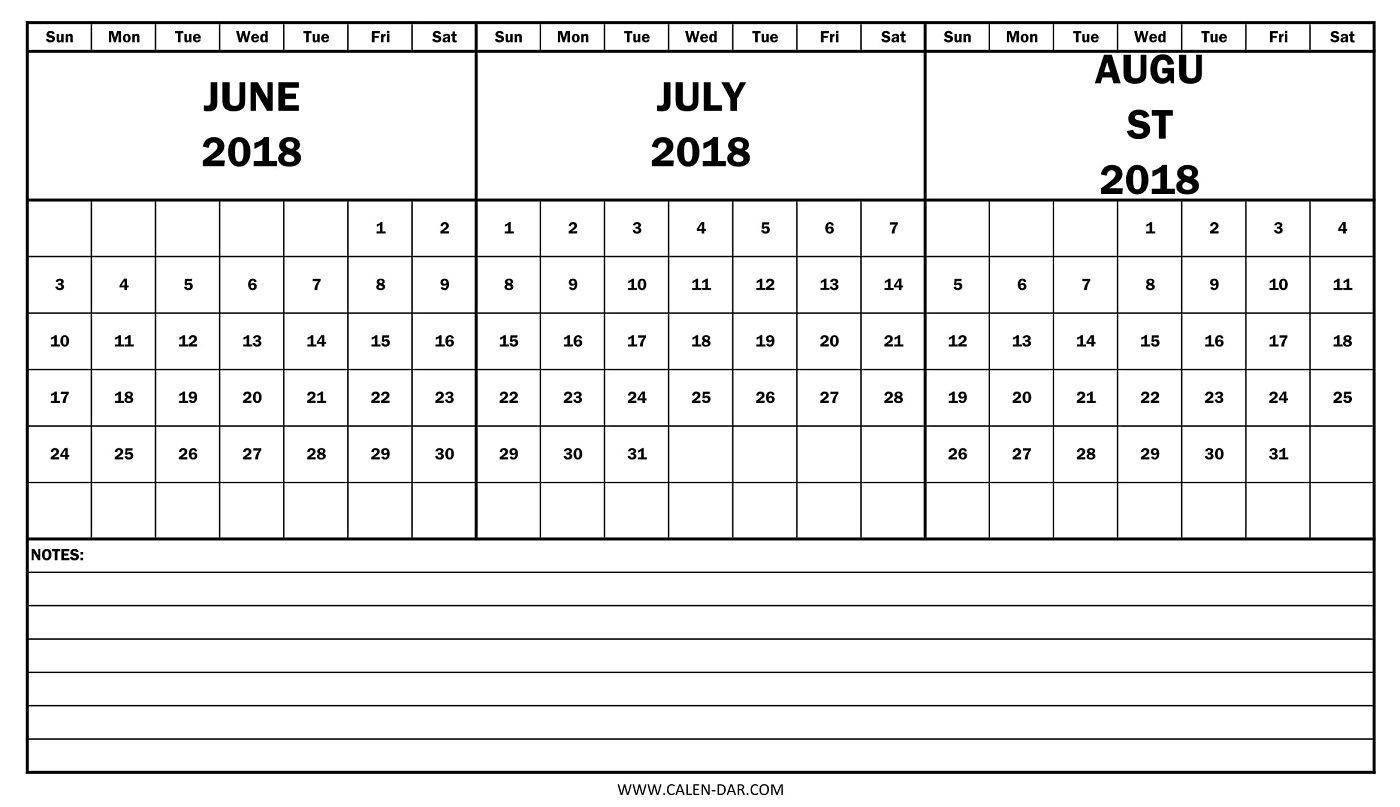 June July August Calendar