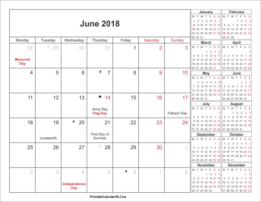 June Lunar Calendar With Moon Schedule 2018