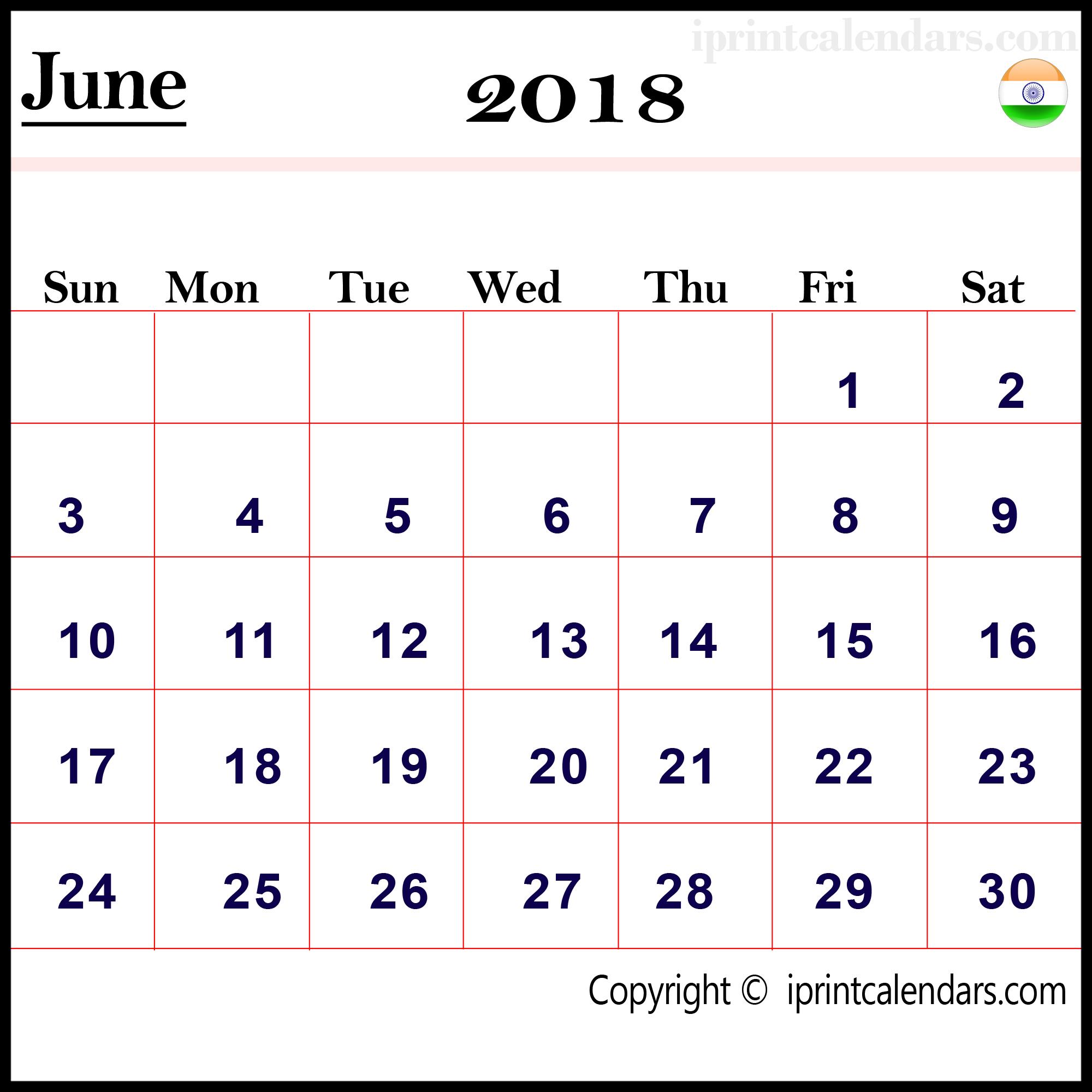 June Tamil Calendar 2018