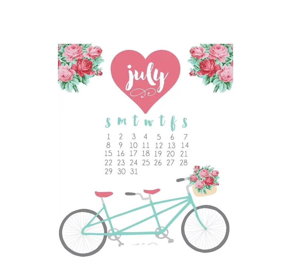 Kids Calendar 2018 July