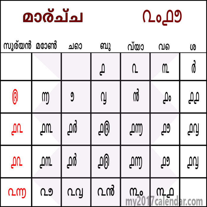 Malayalam Calendar 2018 July Month