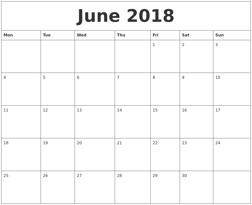 Monthly Calendar For June 2018