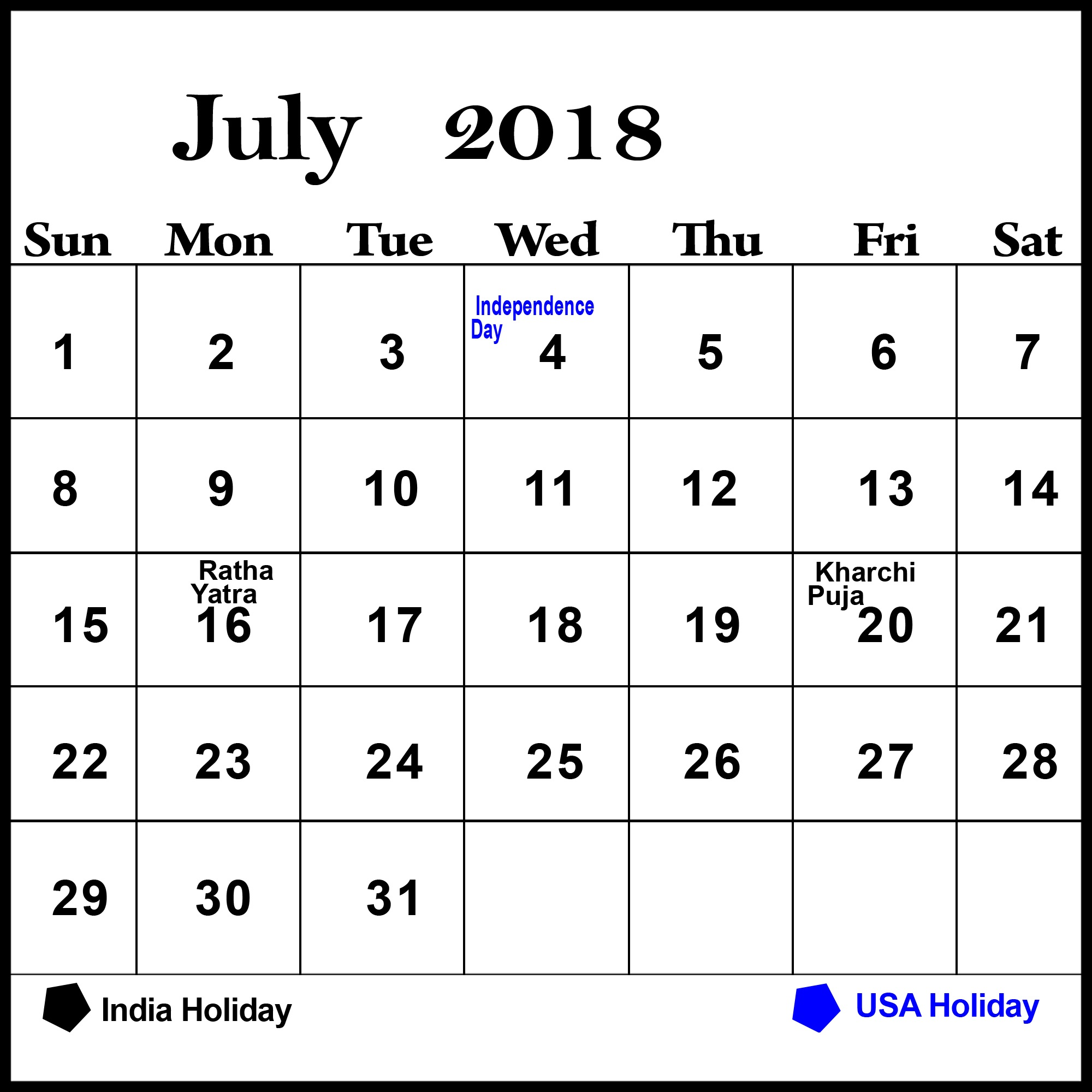 Monthly Calendar of July 2018