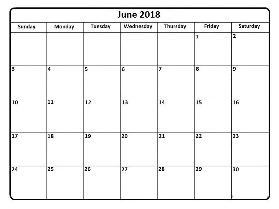 Monthly June 2018 Calendar Images