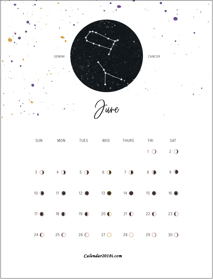 Moon Phases June 2018 Calendar