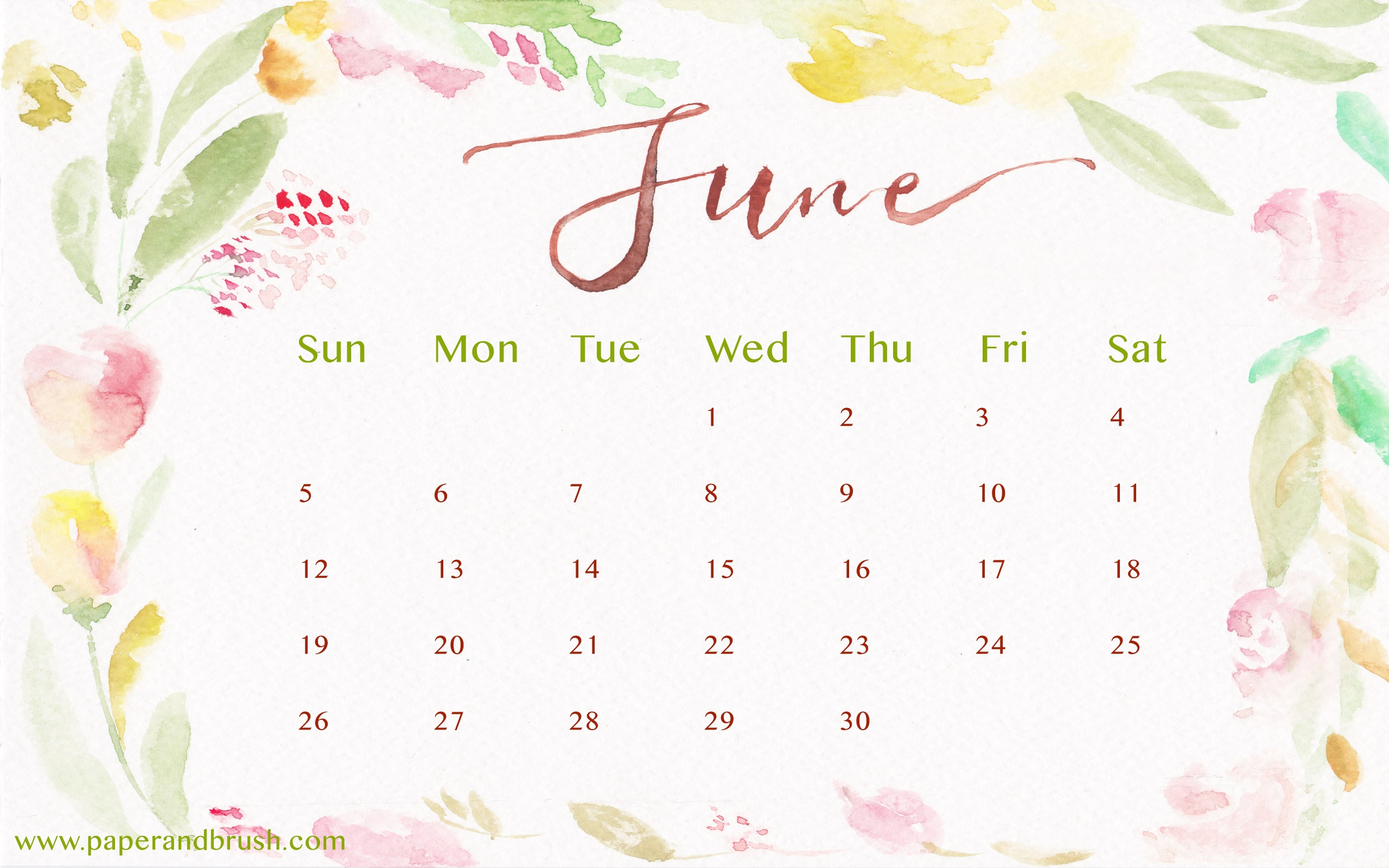 New June 2018 Calendar Desktop Wallpaper