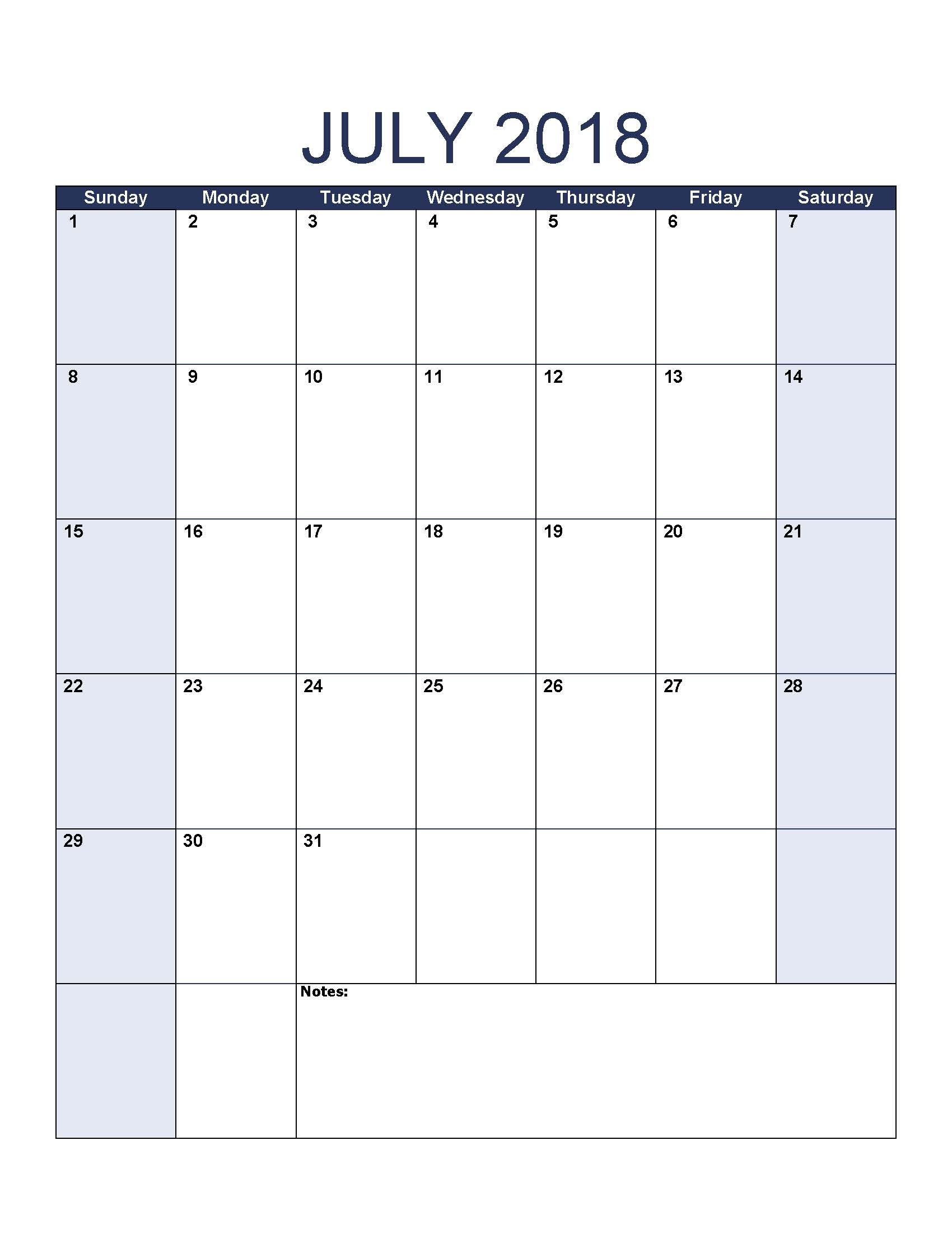Online Calendar of July 2018
