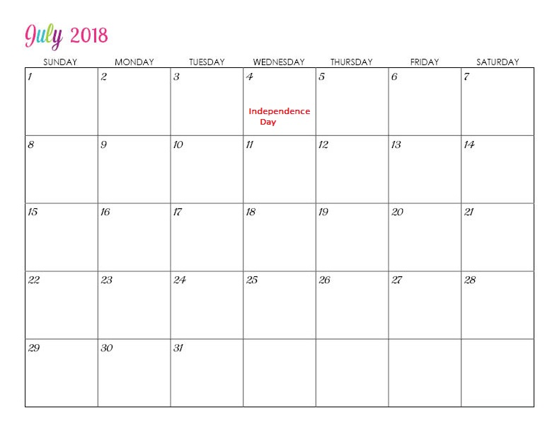 Online July 2018 Holiday Calendar For USA