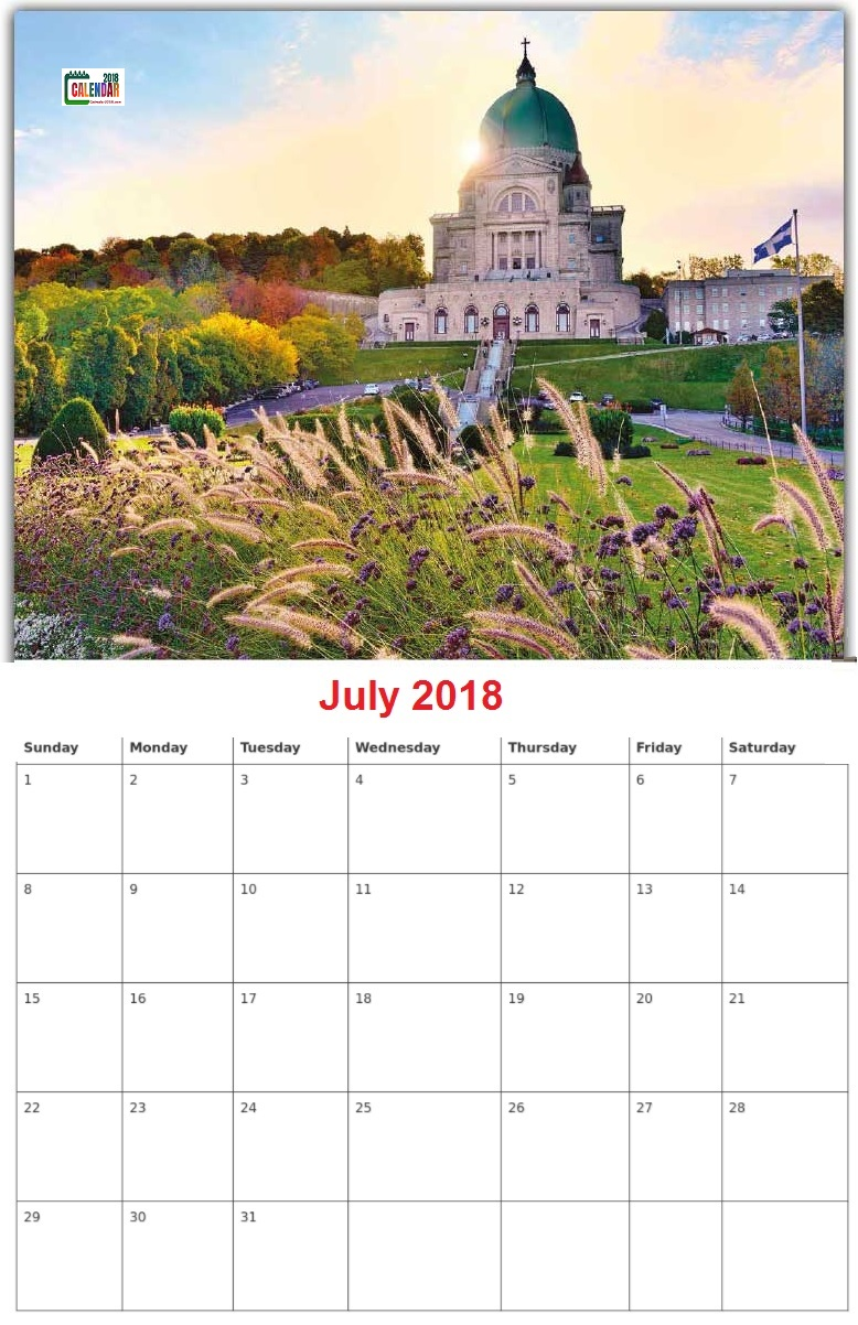 Personalized July 2018 Calendar